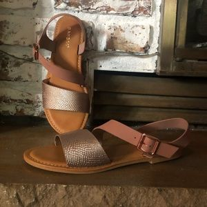 Bamboo sandals - rose gold/snakeskin pattern